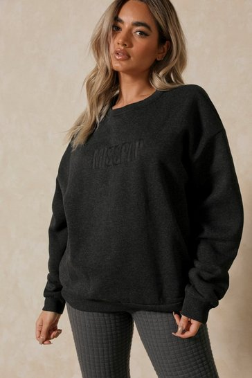 Charcoal MISSPAP Embroidered Oversized Sweater