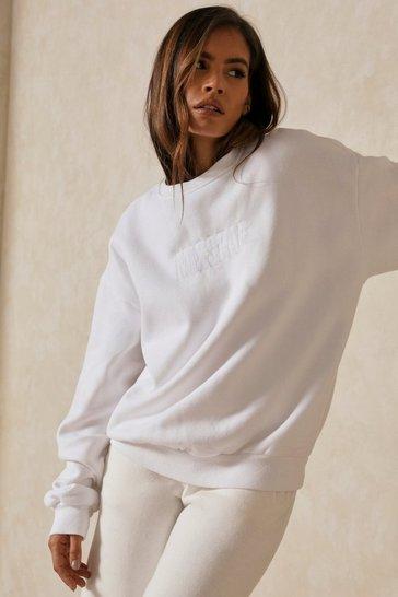 White MISSPAP Embroidered Oversized Sweater