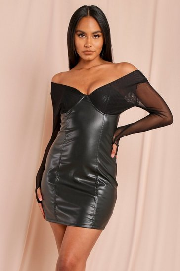 Black Leather Look Off Shoulder Mesh Mini Dress