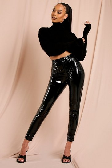 Black High Waisted Vinyl Skinny Trouser