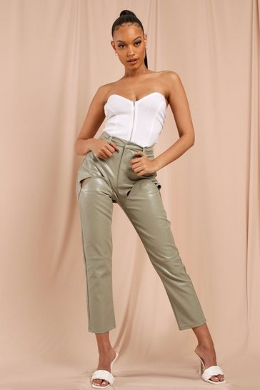Stone Leather Look Croc Straight Leg Trouser