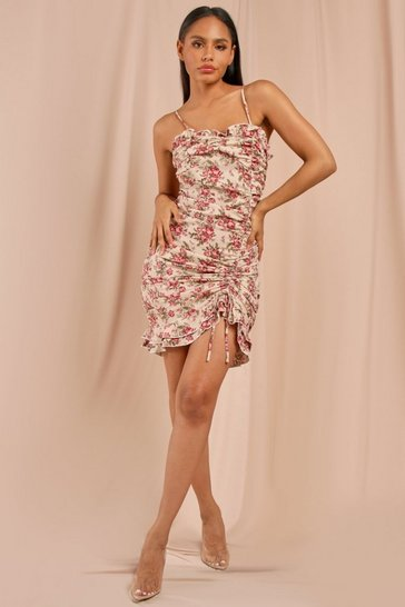 Nude Floral Ruched Frill Detail Strappy Mini Dress