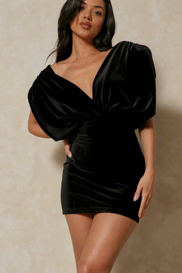Black Velvet Statement Shoulder Mini Dress