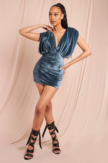 Blue Velvet Statement Shoulder Mini Dress