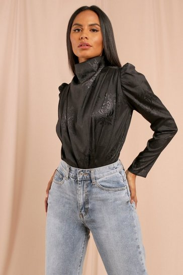 Black High Neck Drape Puff Sleeve Bodysuit