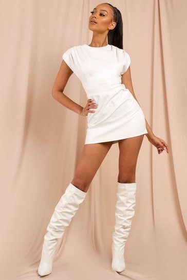 White Leather Look Statement Shoulder Mini Dress