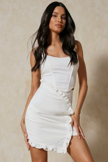 White Frill Detail Asymmetric Mini Skirt