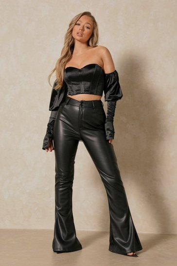 Black Satin Off The Shoulder Puff Sleeve Corset Crop Top