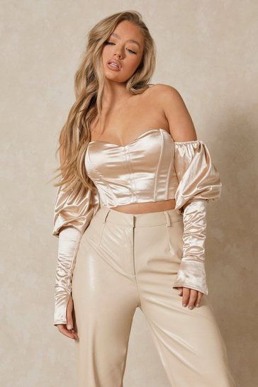 Mocha Satin Bardot Puff Sleeve Corset Crop Top
