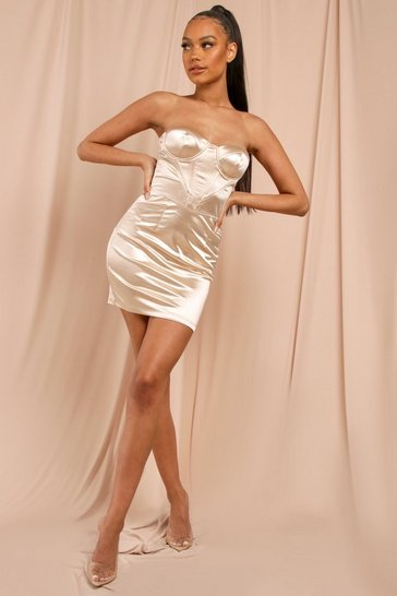 Champagne Satin Corset Boned Mini Dress