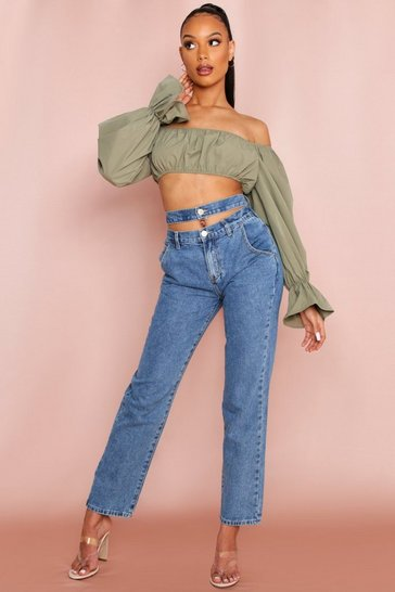 Olive Bardot Long Sleeve Puff Sleeve Crop Top