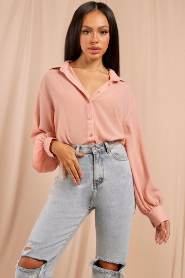Pink Sheer Oversized Shirt