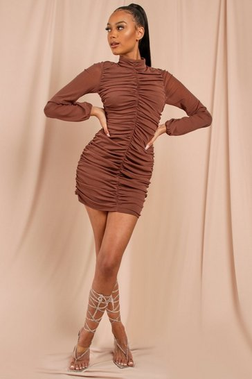 Brown Ruched Mesh Sleeve Mini Dress