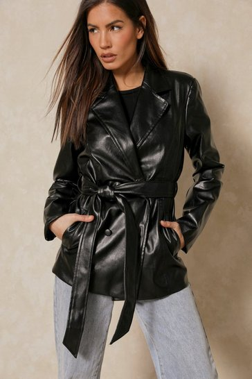 Black Misse Oversized Faux Leather Belted Jacket