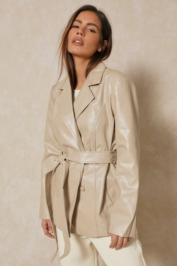 Stone Misse Oversized Leather Look Belted Jacket