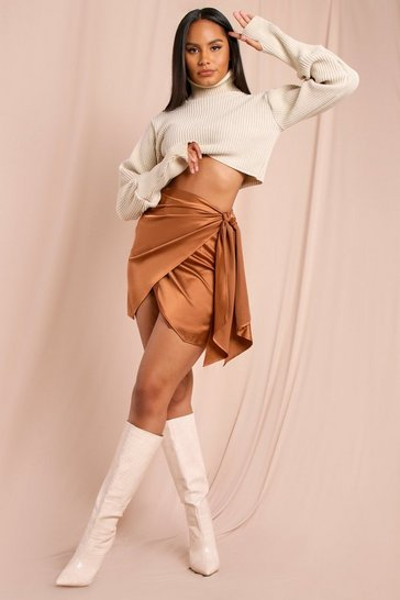 Chocolate Drape Wrap Detail Mini Skirt