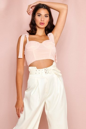 Peach Tie Shoulder Mesh Corset Crop Top
