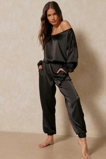 Black Off The Shoulder Satin Lounge Set