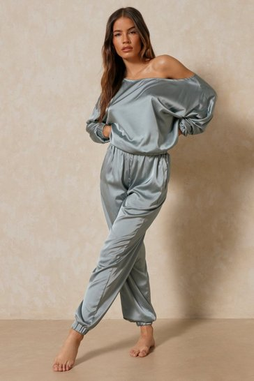 Blue Off The Shoulder Satin Lounge Set