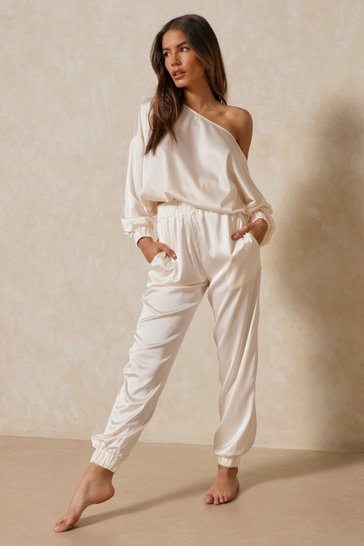 Ivory Off The Shoulder Satin Lounge Set