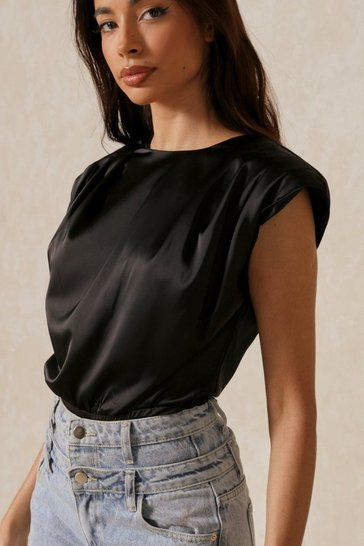 Black Satin Statement Shoulder Bodysuit