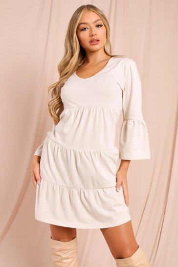 Stone Wrap Tiered Smock Dress