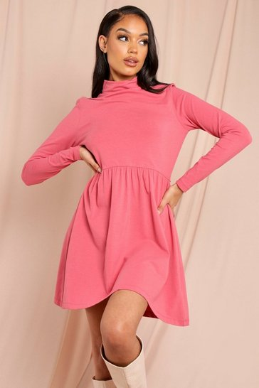 Dusty rose Roll Neck Long Sleeve Skater Dress