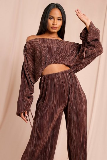 Dark brown Satin Crinkle Bardot Top