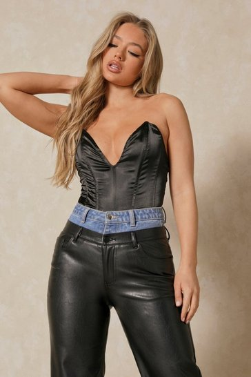 Black Stretch Satin Boned Corset
