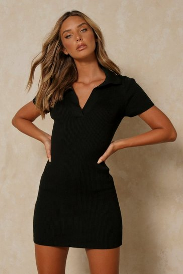 Black Tia Knitted Collared Bodycon Mini Dress
