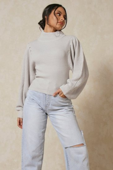 Grey marl Balloon Sleeve Knitted Jumper