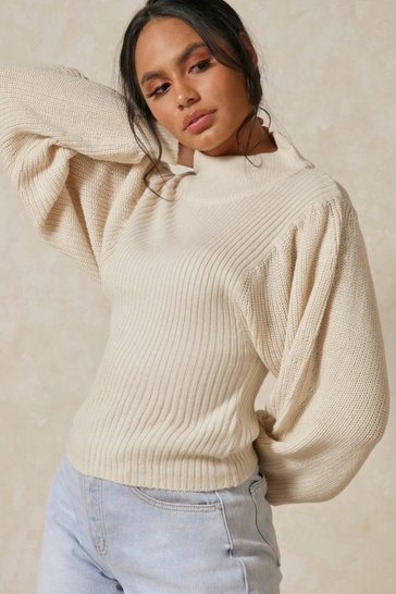 Oatmeal Balloon Sleeve Knitted Jumper