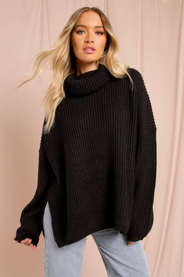 Black Oversized Split Side Roll Neck Jumper