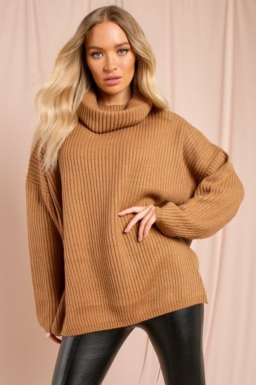 Toffee Oversized Split Side Roll Neck Jumper
