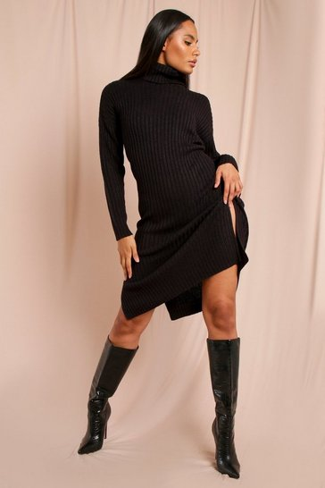 Black Ribbed Roll Neck Knitted Maxi Dress