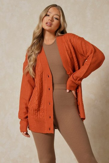 Nutmeg Cable Knit Button Front Cardi