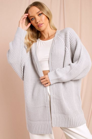 Silver Chunky Oversized Slouchy Cardigan
