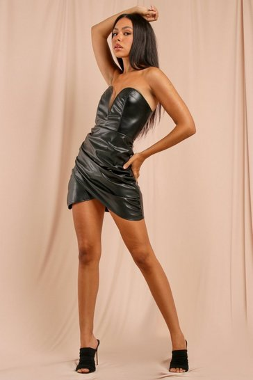 Black Extreme Plunge Leather Look Ruched Mini Dress