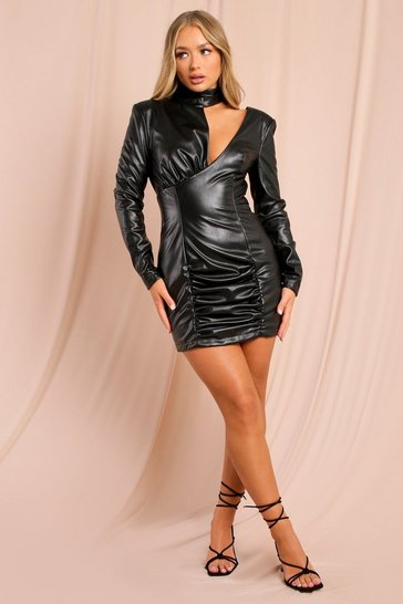 Black Tia Leather Look Cut Out Detail Mini Dress