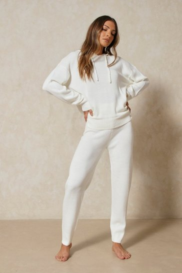 Ivory Knitted Hooded Lounge Set