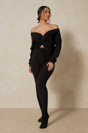 Black Chunky Twist Front Lounge Knit Set