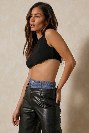 Black Ribbed Racer Curved Hem Crop Top