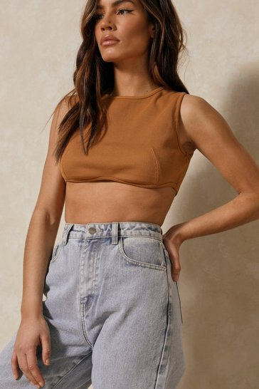 Tobacco Ribbed Racer Curved Hem Crop Top