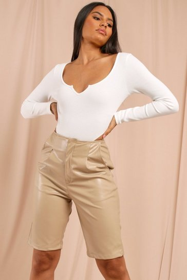 Cream Ribbed V Plunge High Leg Bodysuit