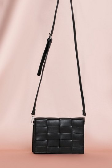 Black Woven Detail Cross Body Bag