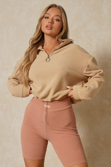Camel O Ring Zip Pull Sweatshirt