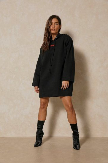 Black Misspap Branded Shoulder Pad Hooded Sweat Dress