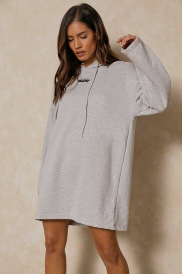 Grey Misspap Branded Shoulder Pad Hooded Sweat Dress