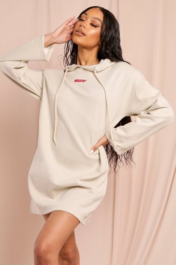 Sand Misspap Branded Shoulder Pad Hooded Sweat Dress
