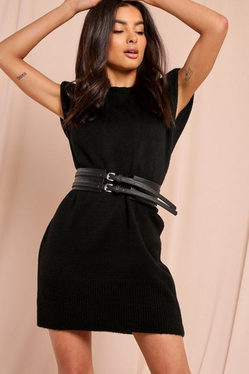 Black Leather Look Double Buckle Waist Belt
